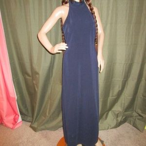 JS Collections Navy Dress with Beaded Collar 8